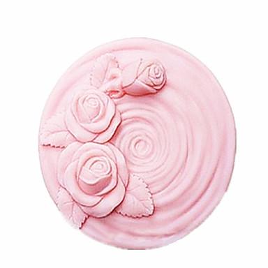 çiçek şeklinde fondan kek çikolata silikon kalıp kek dekorasyon araçları, l7.8cm * w7.8cm * h4.4cm gül