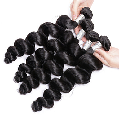 Brazilian Hair Loose Wave Human Hair Weaves 4 Pieces Natural Color Hair Weaves