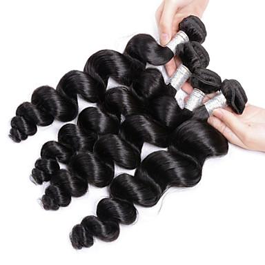 baratos Extensões de Cabelo Natural-4 pacotes Cabelo Brasileiro Ondulação Larga 10A Cabelo Virgem Cabelo Humano Ondulado Tramas de cabelo humano Extensões de cabelo humano