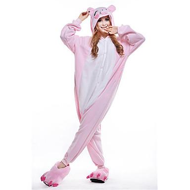 Kigurumi Pajamas Piggy / Pig Onesie Pajamas Costume Polar Fleece Pink Cosplay For Adults' Animal Sleepwear Cartoon Halloween Festival /