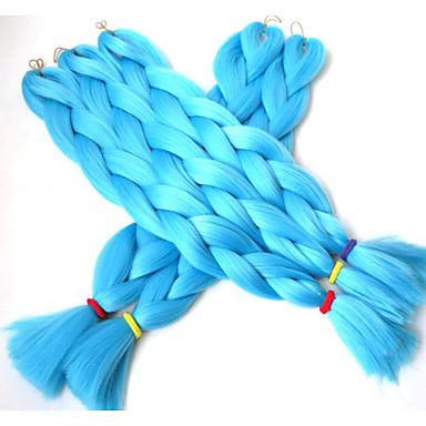 Jumbo laatikko punokset Ombre hiukset hiukset Kanekalon Sininen Hiuspidennykset 24