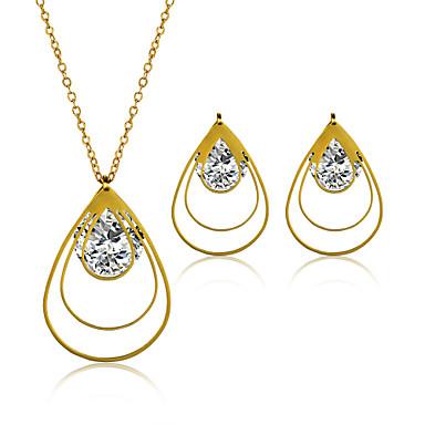 Damen Paar Schmuckset Halskette / Ohrringe Edelstahl Zirkon Titanstahl Stahl Oval Modisch Hochzeit Party Alltag Normal Ohrringe Halsketten