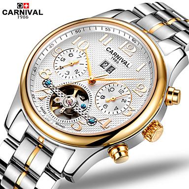 Carnival Masculino Relógio Esqueleto Automático - da corda automáticamente Gravação Oca Aço Inoxidável Banda Branco Dourada Ouro + prata