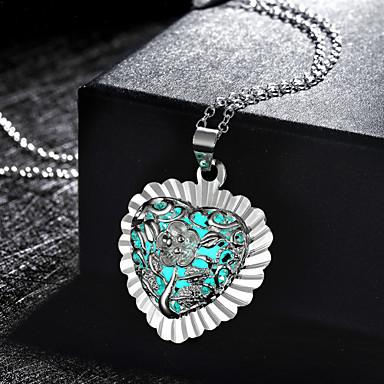 Damen Anhängerketten - Liebe Beleuchtet Grabado Blume Grün Blau Hellblau Modische Halsketten Für Hochzeit Party Alltag Normal Sport