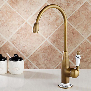 Kitchen Faucet Single Handle One Hole Antique Brass Tall High Arc Deck Mounted Antique Kitchen Taps