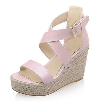 Damen Schuhe Kunstleder Sommer Plattform / Keilabsatz Weiß / Blau / Rosa / Keilabsätze