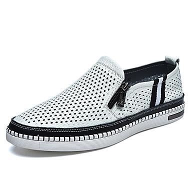 Masculino Sapatos Couro Primavera Verão Outono Conforto Rasteiro Ziper Para Casual Branco Azul Escuro Marron