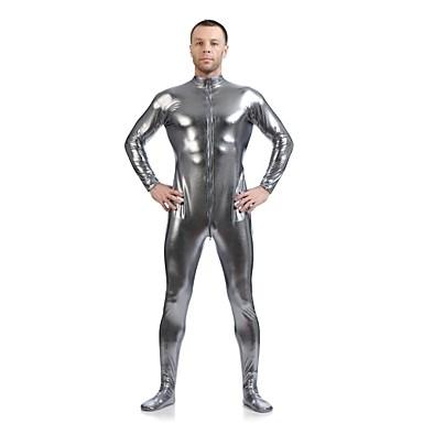 Skinnende Zentai Drakter Ninja Zentai Cosplay-kostymer Grå Ensfarget Trikot / Heldraktskostymer Zentai Spandex Skinnende Metallisk Herre