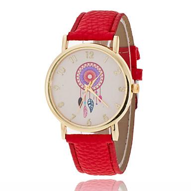 Damen Modeuhr Quartz Armbanduhren für den Alltag PU Band Blume Glanz Schwarz Weiß Rot Grün Lila Gelb