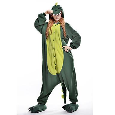 Kigurumi Pajamas Dinosaur Onesie Pajamas Costume Polar Fleece Green Cosplay For Adults' Animal Sleepwear Cartoon Halloween Festival /