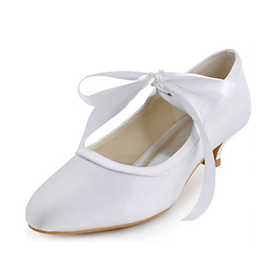 Damen Schuhe Stretch - Satin Frühling Sommer Niedriger Heel Band-Bindung für Hochzeit Kleid Party & Festivität Weiß