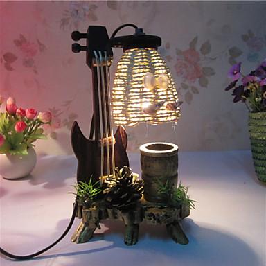 kreativ tre fiolin med penn container dekorasjon bordlampe soverom lampe gave til gutt