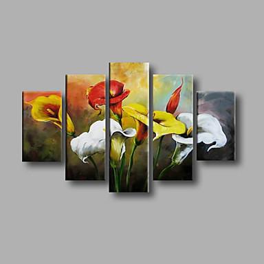 Maalattu Abstrakti / Kukkakuvio/KasvitiedeModerni 5 paneeli Kanvas Hang-Painted öljymaalaus For Kodinsisustus