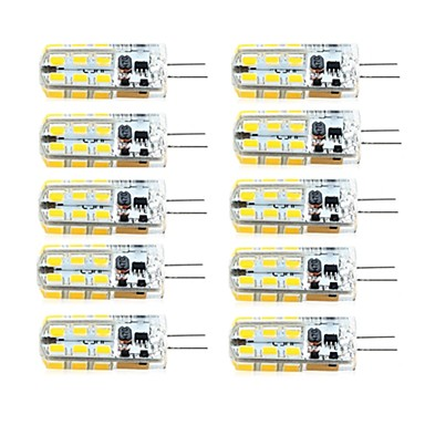 billige Elpærer-brelong 10 stk g4 dimbar 2.5w 24led smd2835 mais lys hvit / varm hvit / ac12v / dc12v / ac220v