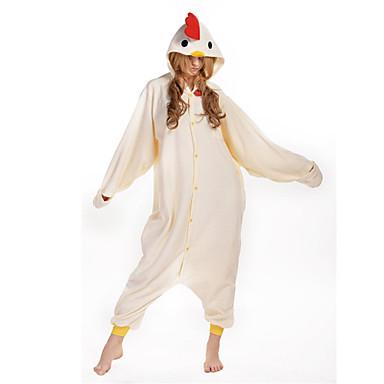Erwachsene Kigurumi-Pyjamas Hahn / Huhn Pyjamas-Einteiler Kostüm Polar-Fleece Beige Cosplay Für Tiernachtwäsche Karikatur Halloween Fest / Feiertage / Weihnachten