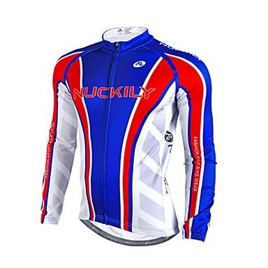 Nuckily 남성용 긴 소매 싸이클 져지 - 블루 꽃 / 식물 기하학적 자전거 져지, 보온, 빛반사 스트립 폴리에스테르 양털 라이크라