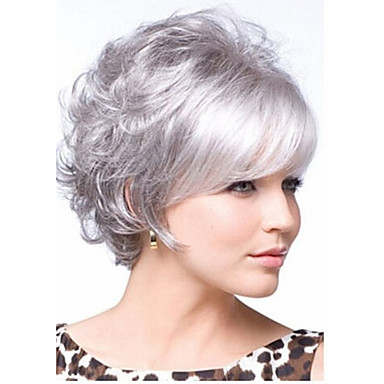 Synthetic Wig Curly Layered Haircut / With Bangs Synthetic Hair With Bangs White Wig Women's Short Capless
