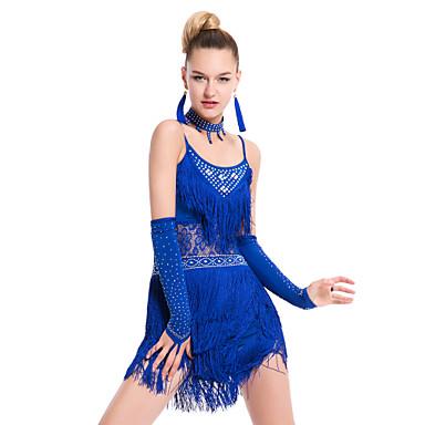 Dança Latina Vestidos Mulheres Actuação Treino Fibra de Leite 1 Peça Sem Mangas Vestido