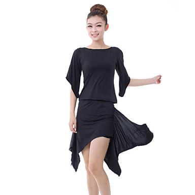 ריקוד לטיני תלבושות בגדי ריקוד נשים אימון מילק פייבר צד עטויים 2 חלקים חצי שרוול טבעי חצאית / עליון