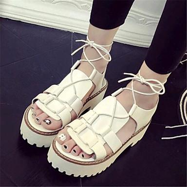 נעלי נשים-סנדלים-דמוי עור-קריפרס-שחור / לבן-שטח / קז'ואל-פלטפורמה