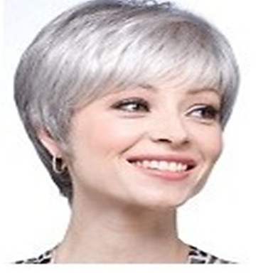 Synthetic Wig Straight Synthetic Hair Gray Wig Women's Short Capless