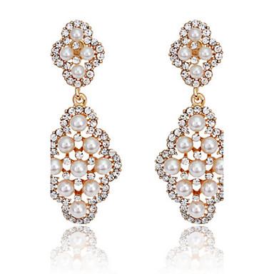 Žene Viseće naušnice Sintetički gemstones Biseri Kubični Zirconia Jewelry Zlato Pink Party Nakit odjeće