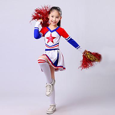 Cheerleader-Kostüme Austattungen Kinder Leistung Polyester Rüschen Langarm Hoch Top Rock