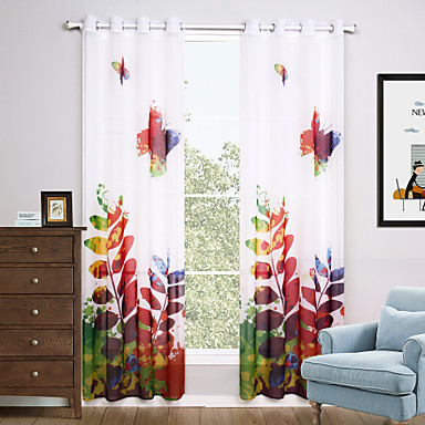 Ösen zwei Panele Window Treatment Modern, Druck Wohnzimmer Polyester Stoff Gardinen Shades Haus Dekoration