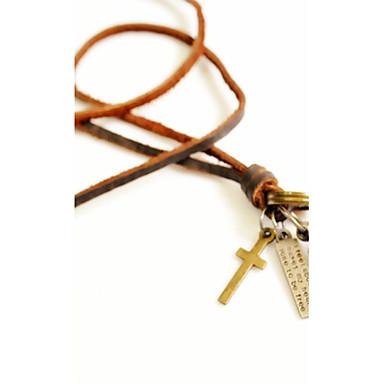 Herrn Anhängerketten - Leder Kreuz, Kugel Retro Gold Modische Halsketten Für Alltag, Normal, Sport