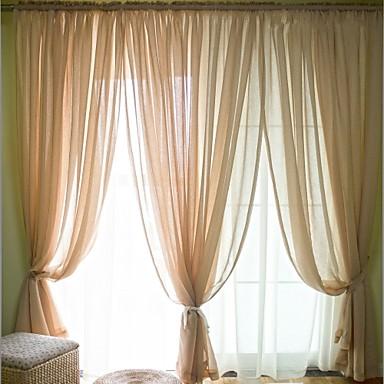 To paneler Window Treatment Moderne , Ensfarget Soverom Lin/ Polyester Blanding Materiale Gardiner Skygge Hjem Dekor For Vindu