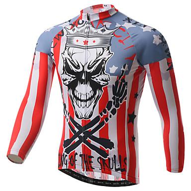 XINTOWN Homens Manga Longa Camisa para Ciclismo - Branco Moto Camisa/Roupas Para Esporte, Secagem Rápida, Resistente Raios Ultravioleta,