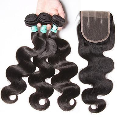 3 Bundles mit Verschluss Brasilianisches Haar Große Wellen Unbehandeltes Haar Haar-Einschlagfaden mit Verschluss 12-24 Zoll Menschliches Haar Webarten 4a Natur Schwarz Haarverlängerungen Damen