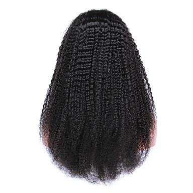 Echt haar Volledig Kant / Kanten Voorkant Pruik Kinky Curly 130% / 150% Dichtheid Natuurlijke haarlijn / Afro-Amerikaanse pruik / 100% handgebonden Dames Kort / Medium Kanten pruiken van echt