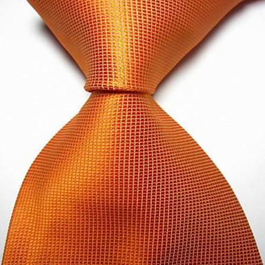 Gravata de gravata com tecidos jacquard com laranja xadrez