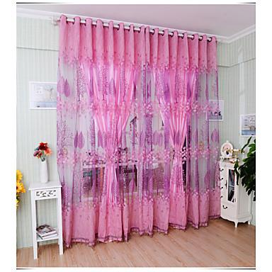 Purjerengas One Panel Window Hoito Kantri , Jakardi Living Room Polyesteri materiaali Läpinäkyvät verhot Shades Kodinsisustus