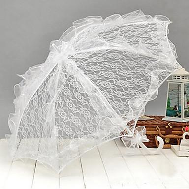 valkoinen pitsi häät sateenvarjo puutarha teema häät tarvikkeet