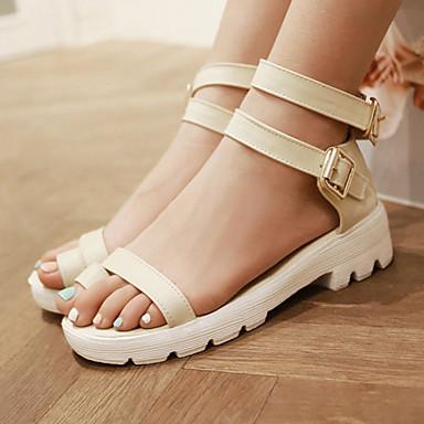 Sandaalit-Matala korko-Naisten kengät-Tekonahka-Musta / Sininen / Keltainen / Beesi-Puku / Rento-Varvassormus / Avokärkiset