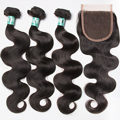 Brazilian Hair Body Wave Human Hair Weaves 4pcs Soft Hair Weft with Closure Daily