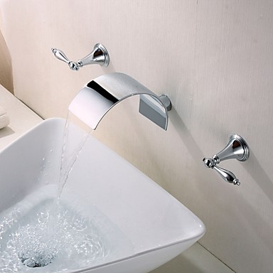 Contemporary Wall Mounted Waterfall Ceramic Valve Two Handles Three Holes Chrome Bathroom Sink Faucet Bath