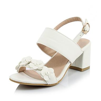 Sandaalit-Leveä korko-Naisten kengät-Tekonahka-Musta / Valkoinen / Beesi-Häät / Rento / Juhlat-Korot