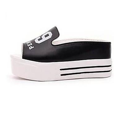 Platform / Flip-flop papucsok-Talp-Női cipő-Klumpák és magassarkú papucsok / Papucsok-Szabadidős / Alkalmi-Bőrutánzat-Fekete / Fehér