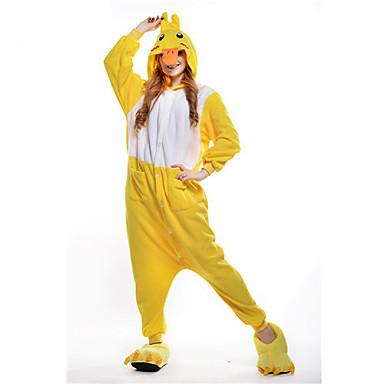 Erwachsene Kigurumi-Pyjamas Ente Pyjamas-Einteiler Kostüm Polar-Fleece Gelb Cosplay Für Tiernachtwäsche Karikatur Halloween Fest / Feiertage / Weihnachten