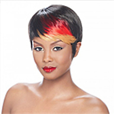 Fashion Short Straight Mix-clolor(Black&Red) Synthetic Hair Wig Party Wig