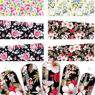 4 pcs 3D Negle Stickers Negle Smykker Vannoverføringsklistre Neglekunst Manikyr pedikyr Punk / Mote Daglig / PVC / Nail Smykker / 3D Nail Stickers