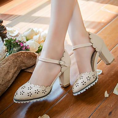 בגדי ריקוד נשים נעליים דמוי עור אביב קיץ עקב עבה פתחים ל קזו'אל בָּחוּץ שמלה בז' כחול ורוד