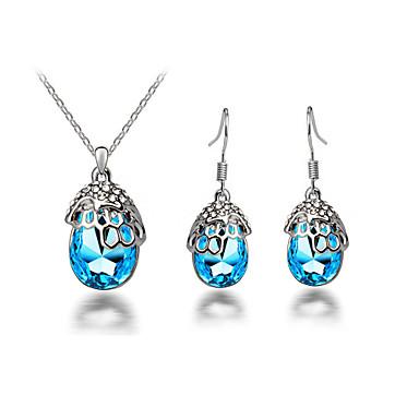 סט תכשיטים שרשרת / עגילים קריסטל סגסוגת טיפה ורד ירוק כחול שרשראות עגילים ל Party יומי קזו'אל 1set מתנות חתונה
