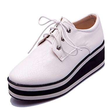 נעלי נשים-אוקספורד-דמוי עור-מרובע-שחור / אדום / לבן-שמלה / קז'ואל-פלטפורמה