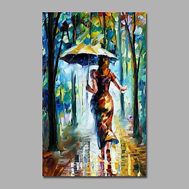 Maalattu Maisema / Ihmiset / Abstraktit maisemakuvatModerni / European Style 1 paneeli Kanvas Hang-Painted öljymaalaus For Kodinsisustus