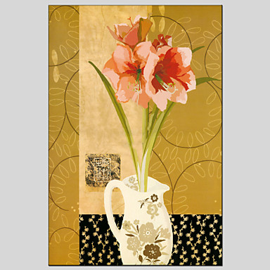 Ručno oslikana Cvjetni / BotaničkiEuropska Style / Moderna Jedna ploha Platno Hang oslikana uljanim bojama For Početna Dekoracija