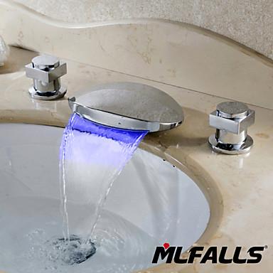 Moderni Pöytäasennus LED / Vesiputous with  Keraaminen venttiili Kaksi kahvaa kolme reikää for  Kromi , Ammehana / Kylpyhuone Sink hana